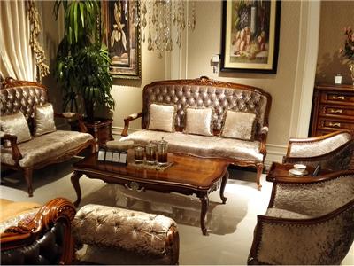 爵典家居·萨芬戴家具美式客厅实木布艺单人位+双人位+三人位沙发/茶几