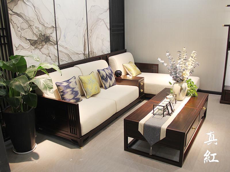 真红家具新中式客厅乌金木实木简雅三人位带贵妃榻沙发