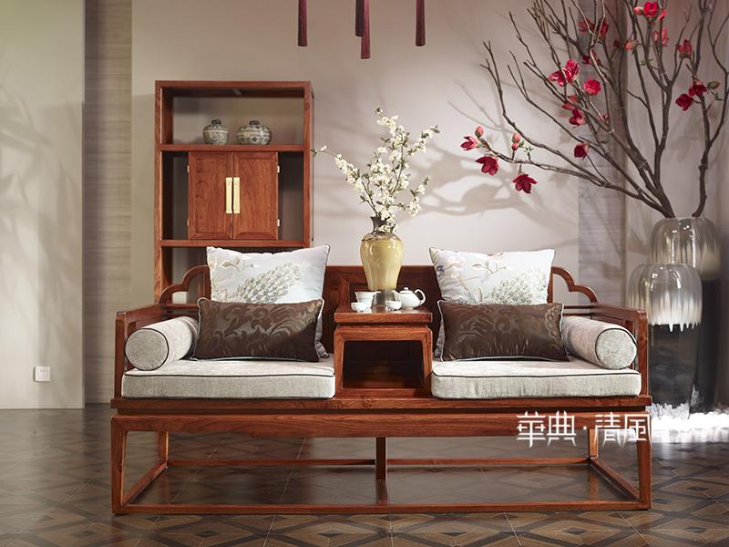 华典清风·欧尚格家居新中式客厅刺猬紫檀红木双人大床001罗汉椅