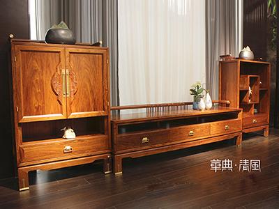 华典清风·欧尚格家居家具新中式客厅红木刺猬紫檀010组合地柜