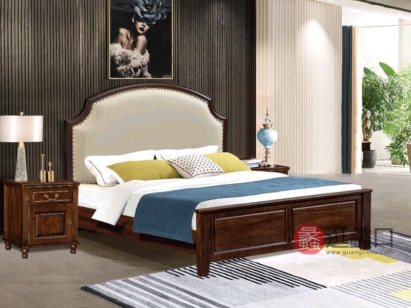 奥斯汀家具美式套房实木家具真皮软靠床2901-3#床
