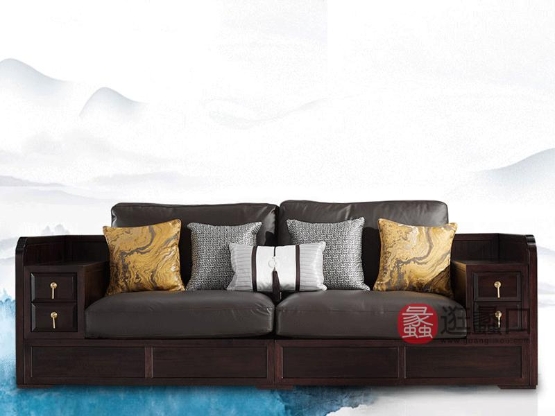 悦木家具新中式客厅沙发【单人+双人+三人】真皮沙发组合YF30