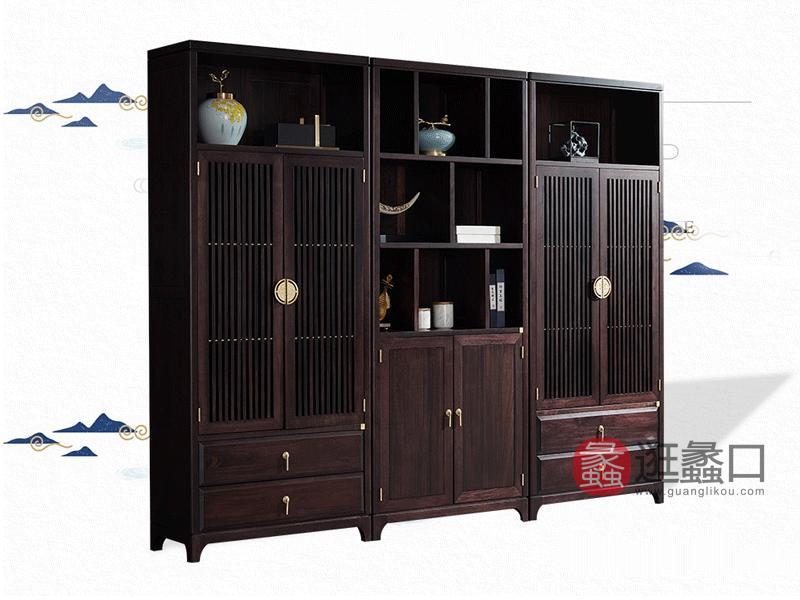 盛德家具新中式书房书柜YF53c檀木实木书柜【双抽*2+双门】