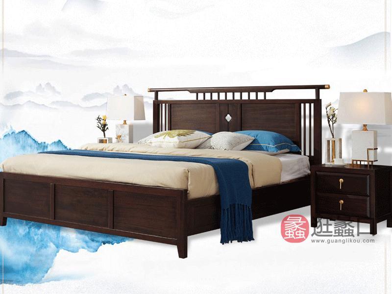 悦木家具新中式卧室床实木床1.8米现代中式实木床轻奢床实木家具 檀木床YF02