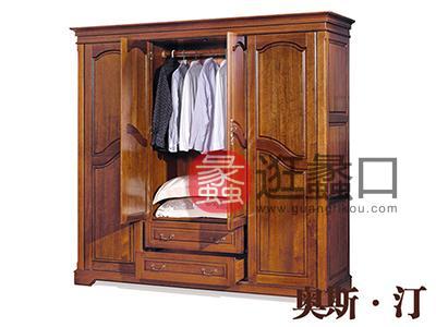 奥斯汀家具美式套房实木家具四开门衣柜
