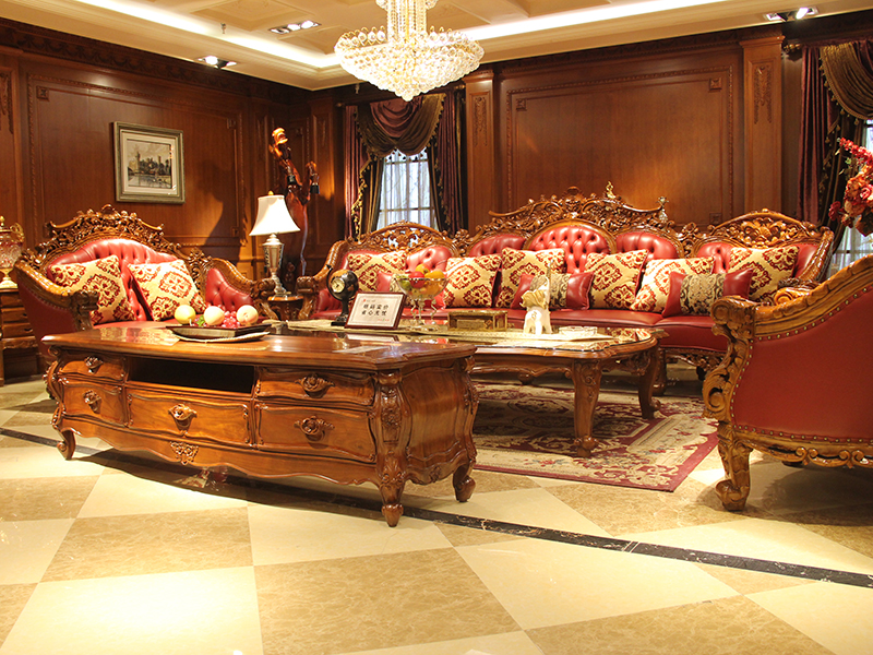 卡洛蔓·润达名家居欧式奢华别墅客厅进口柚木实木多人位皮沙发组合 茶几 电视柜