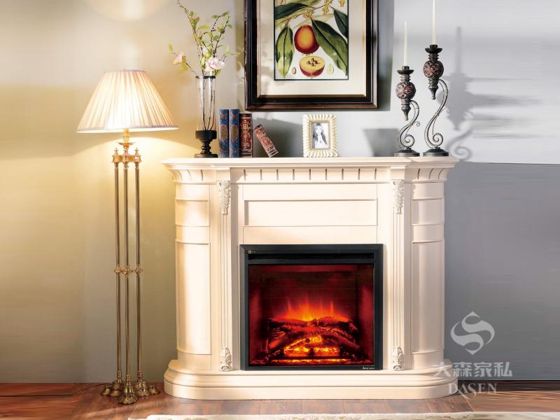 大森家具华东营销中心欧式客厅红榉木实木壁炉/置物架