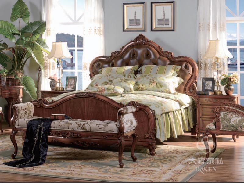 大森家私家具欧式卧室德国榉木实木皮艺软靠双人床/床头柜/婚床/床尾凳