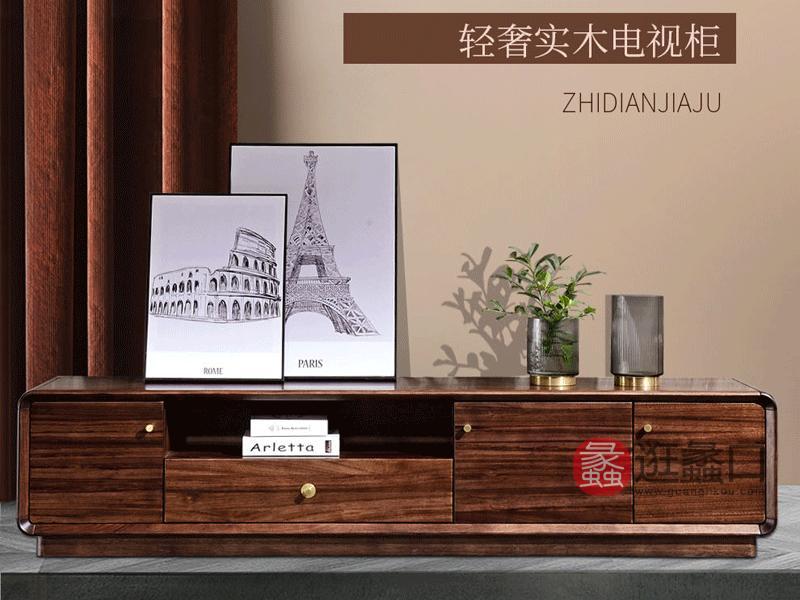 圣奥罗兰家具现代客厅电视柜HX23实木电视柜 地柜 客厅组合柜 现代简约储物电视柜非洲乌金木