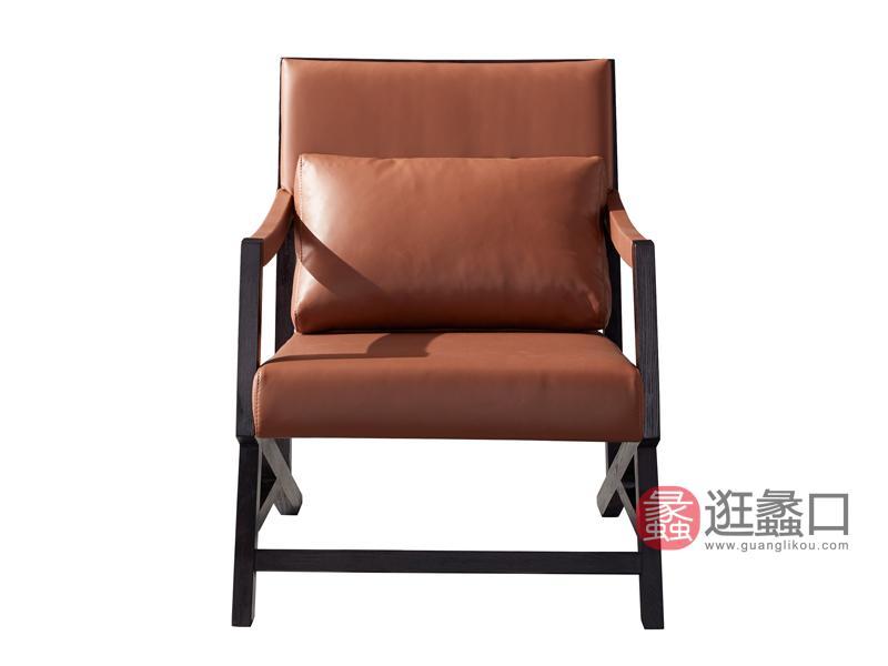 伊薇特家具意式极简客厅休闲椅实木牛皮休闲椅YS-301休闲椅