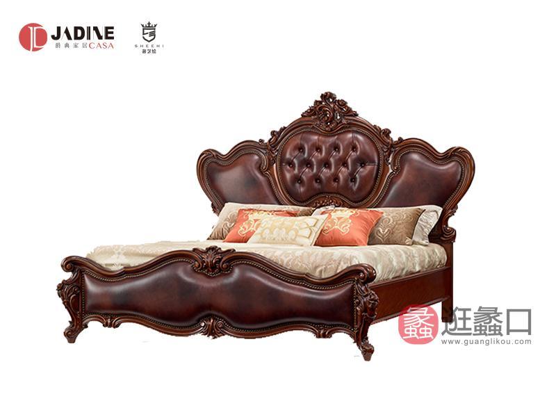 奢艺绘家具·爵典家居卧室欧式实木雕花大床SY202/床头柜
