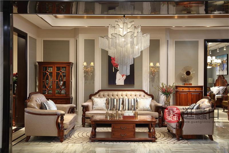 奥斯汀家具美式套房纯实木家具头层牛皮真皮沙发