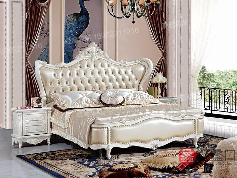 爱普菲斯家具欧式新古典卧室实木皮艺双人床B815#/b01#床头柜