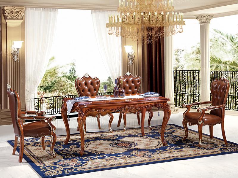 爱普菲斯家具简欧餐厅白色实木雕花长餐桌椅A05#/A10#餐椅