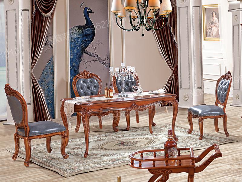 爱普菲斯家具欧式新古典经典餐厅实木雕花长餐桌A20#/A08#餐椅/A20#酒柜