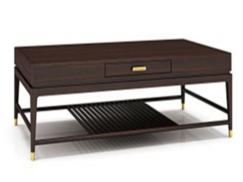 澜起家具新中式实木双层简约镂空方几客厅客房茶边几CJ-01