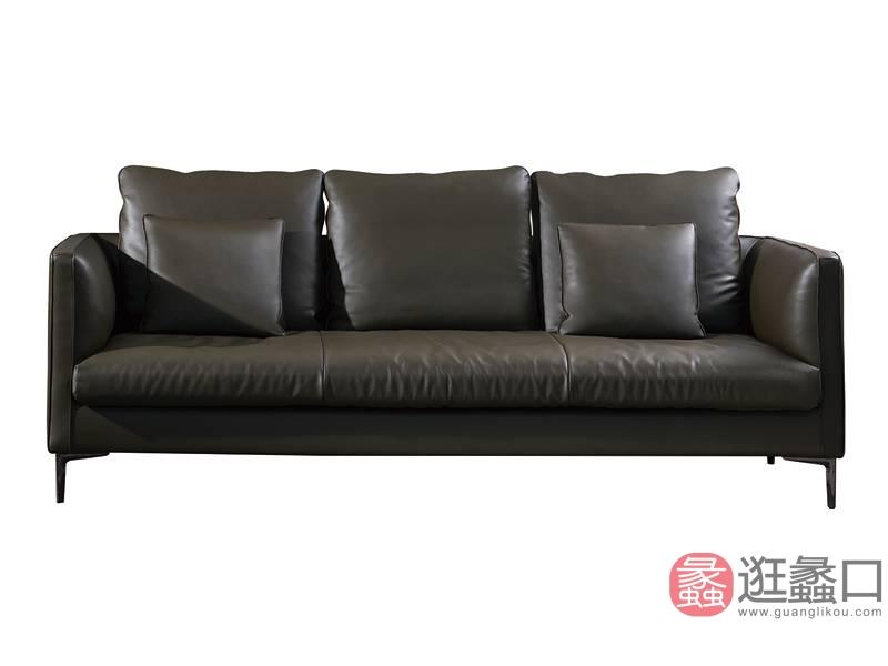 意斯特家具意式现代极简客厅沙发三人位真皮沙发A03#