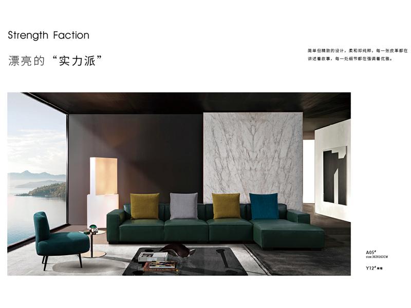 费丽斯家具意式现代极简客厅沙发进口头层皮沙发A05#