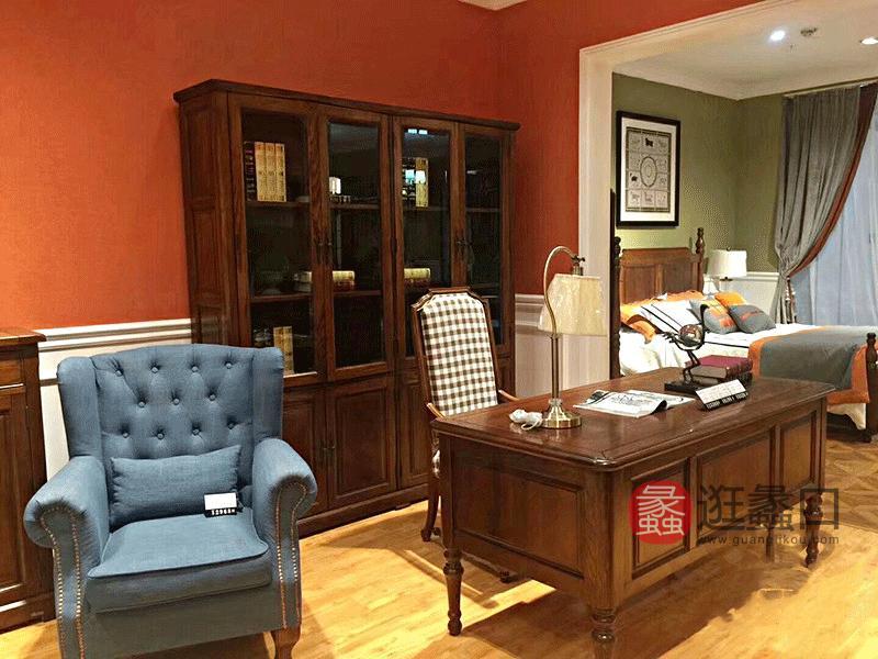 奥斯汀家具美式套房实木家具实用书桌椅+书柜组合