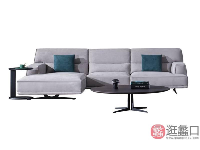 费丽斯家具意式现代极简客厅沙发真皮沙发A09#三人位+贵妃