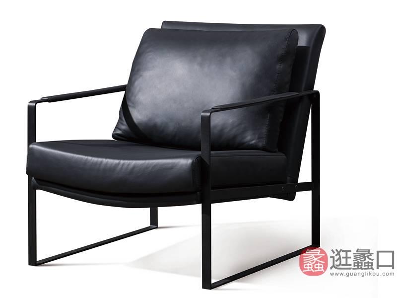 费丽斯家具意式现代极简客厅客房沙发单人真皮沙发Y08#-B