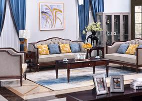 缀美家具美式客厅实木xm811-32沙发组合