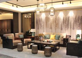 熙也家具新中式客厅雅致1+2+3沙发+茶几组合