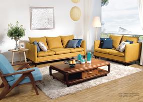 沃克家居北欧客厅实木鹅掌楸木布艺双扶手双人沙发/三人沙发FT4104/FT4204茶几