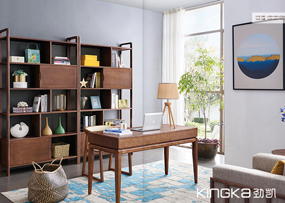 健辉家居·劲凯家具现代北欧书房北美白蜡木实木简约书桌椅+书柜组合