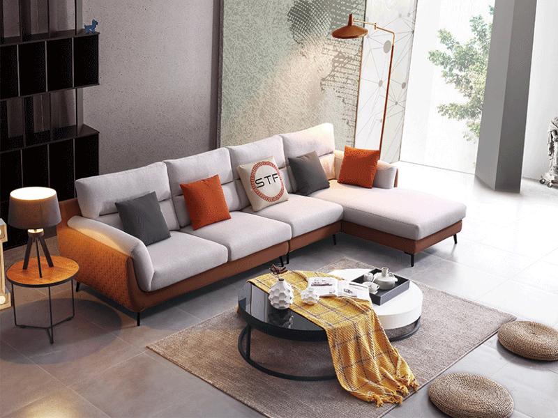 费丽斯家具意式现代极简客厅沙发6067#布艺沙发组合