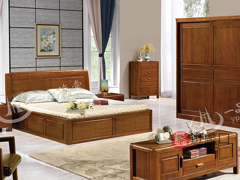君诺家居·一品海棠家具 中式卧室海棠木实木809双人床/床头柜/衣柜/电视柜