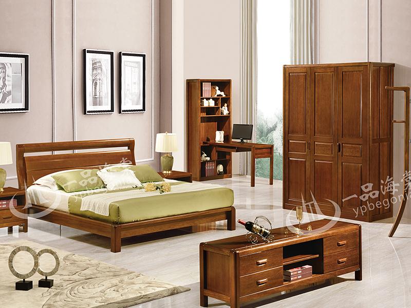 君诺家居·一品海棠家具 现代中式卧室海棠木实木801双人床/床头柜/衣柜/电视柜/转角书桌