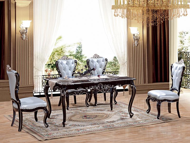 爱普菲斯家具欧式新古典餐厅黑檀色实木长餐桌C13#/餐椅c02#