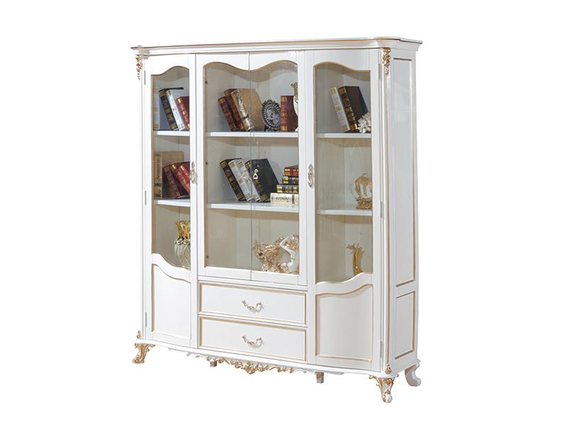 爱普菲斯家具欧式实木珠光白书柜B20#(弯门实木)