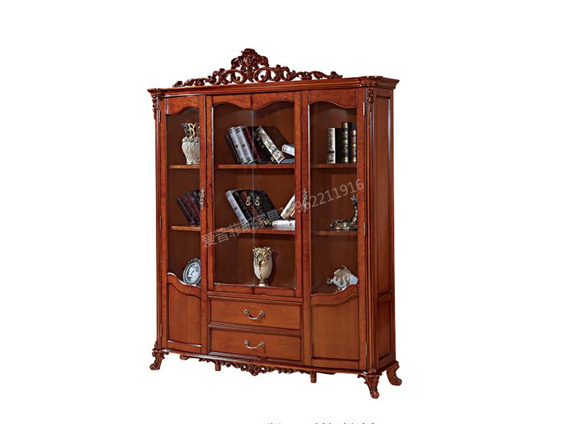 爱普菲斯家具欧式书房咖啡色实木书柜A20#
