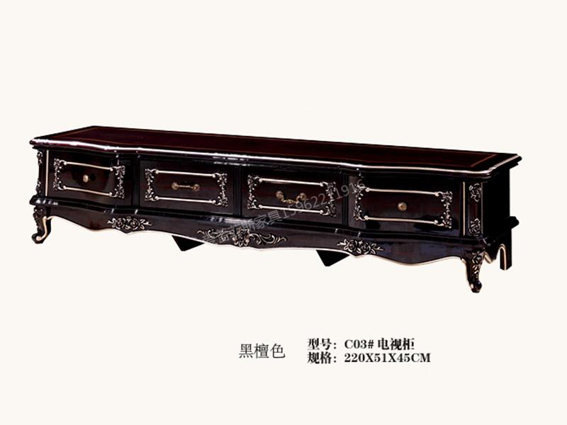 爱普菲斯家具欧式客厅黑檀木实木电视柜C03#