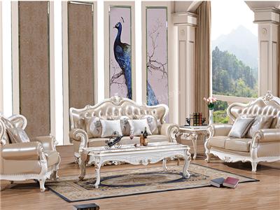 爱普菲斯  欧式珠光白实木沙发/茶几欧式客厅沙发
