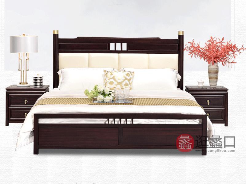 雅沐家具新中式卧室床新中式TX882实木床1.8米 双人床 新中式实木床