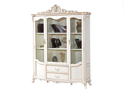 爱普菲斯家具 欧式古白色实木书E20#柜欧式书房书柜E20#
