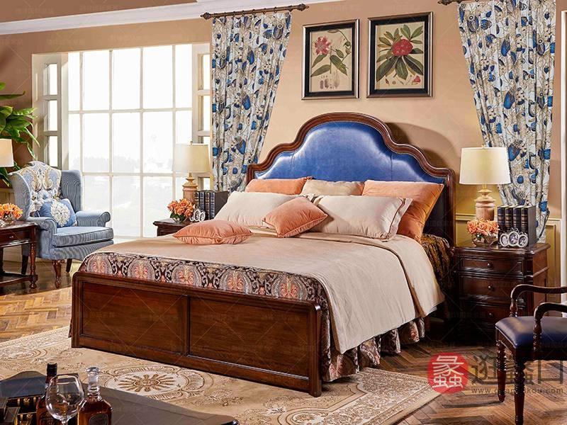 爵典家居·融峰国际家居-艾加里梵美系列 卧室桃花芯木实木圣地亚哥床AJ04-L2