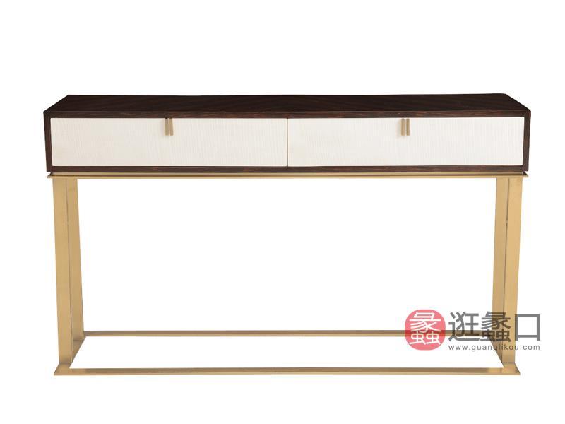 赫庭家具轻奢美式客厅玄关柜Y-XG-005伯爵系列实木+金属架时尚玄关柜