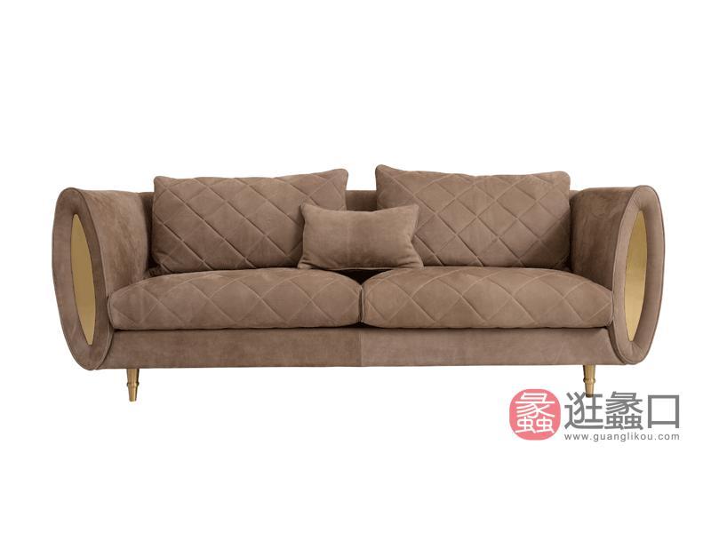 赫庭家具轻奢美式客厅沙发Y-SF-003A伯爵系列三人真皮沙发
