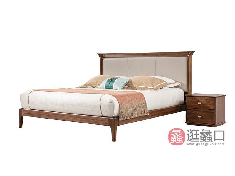 璞苑家具新中式卧室床1.8米皮床实木床A8201床