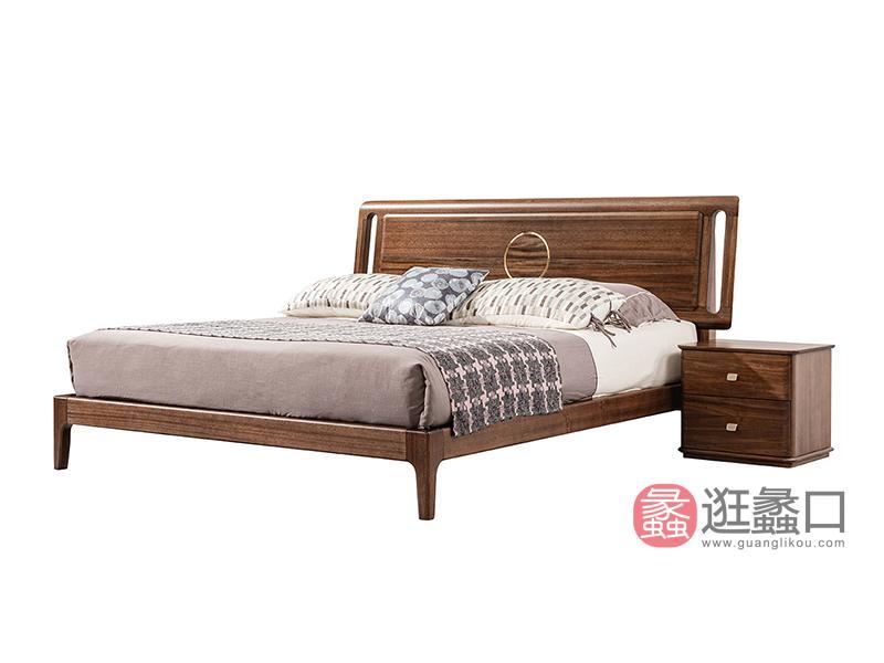 璞苑家具新中式卧室床实木床A8208床1.8米床