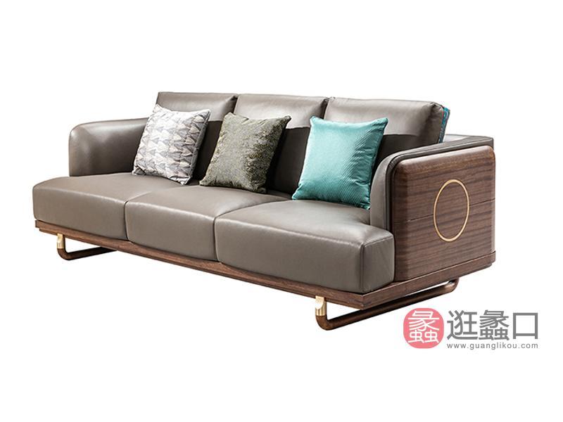 璞苑家具新中式客厅沙发实木沙发B8102-3三人位沙发