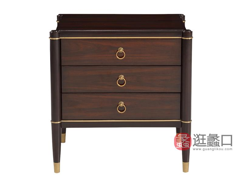赫庭家具轻奢卧室床头柜Y-CTG-002伯爵系列实木床头柜