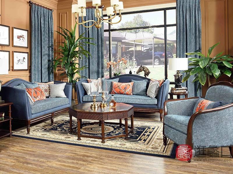 爵典家居·融峰国际家居美式客厅桃花芯木布艺实木双人位+三人位+单人位沙发组合F250-1/茶几/角几