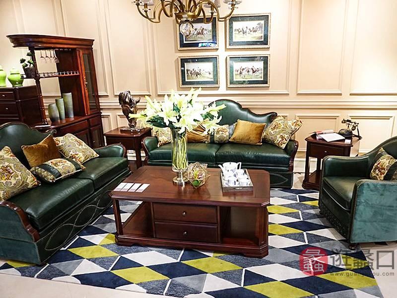 爵典家居·融峰国际家居艾加里梵美客厅美式实木双人位+单人位+三人位桃花芯木皮沙发组合F327/茶几