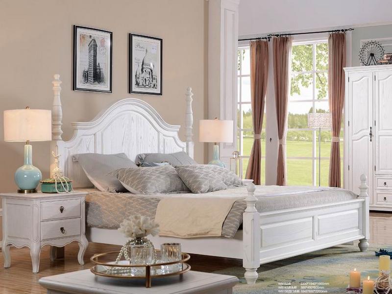 健辉家居·美伦卡家具美式卧室实木复古白色双人床/床头柜W8143/W8138四门衣柜