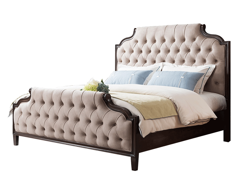 凯迪斯顿家具轻奢卧室床A801-16美式轻奢801实木床布艺床简美床现代简约双人床卧室实木床家具